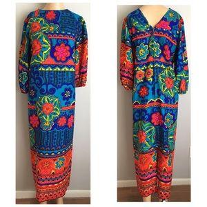 VTG 70s Beaded Mumu Floral Hippie Maxi Dress XS S
